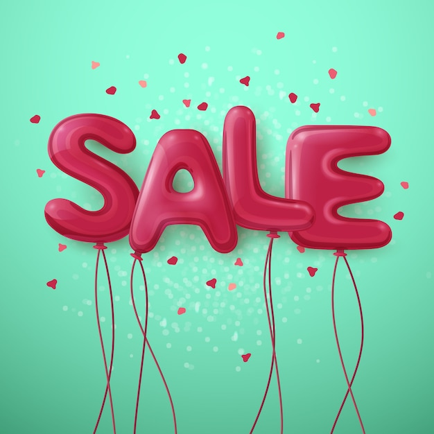 Sale balloon letters background Free Vector