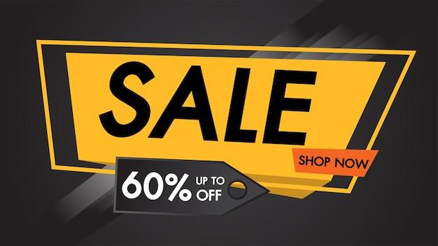 007b7141d Sale banner black background up to 60% off shop now. Premium Vector