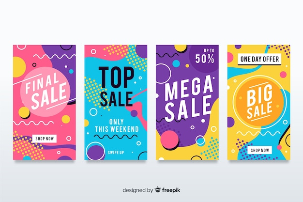 Sale banner collection in memphis style Free Vector
