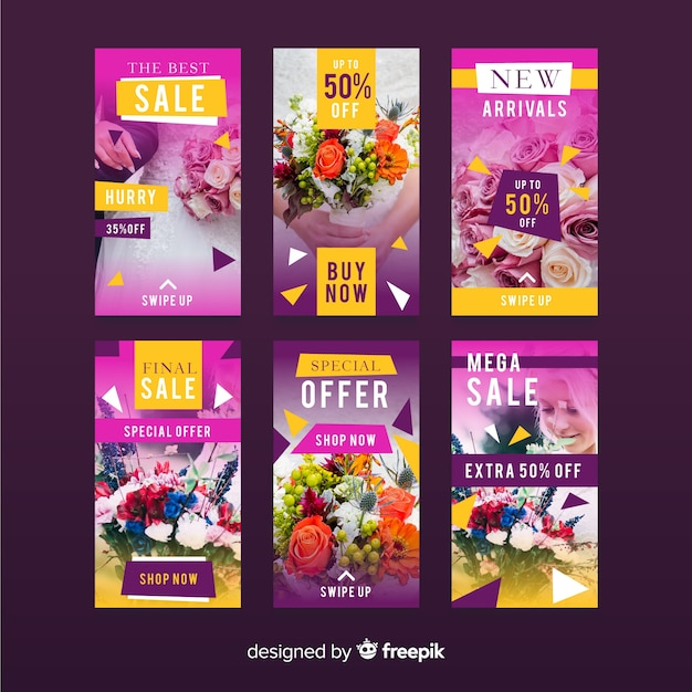 Sale banner collection for social media Free Vector