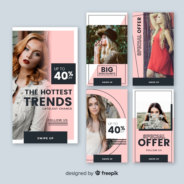 Sale banner collection with photo Free Vector