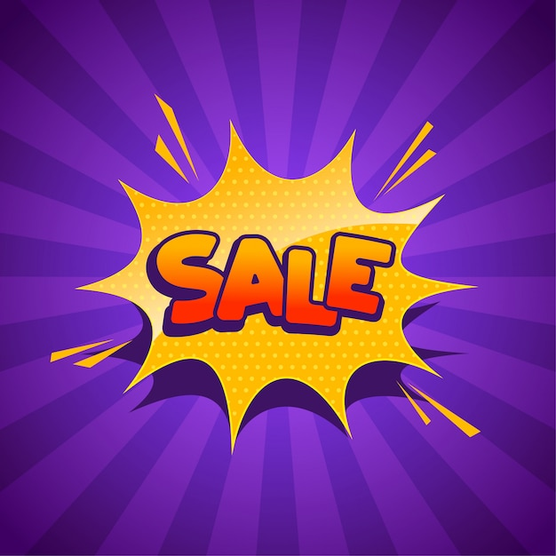 Sale banner in comic style Free Vector