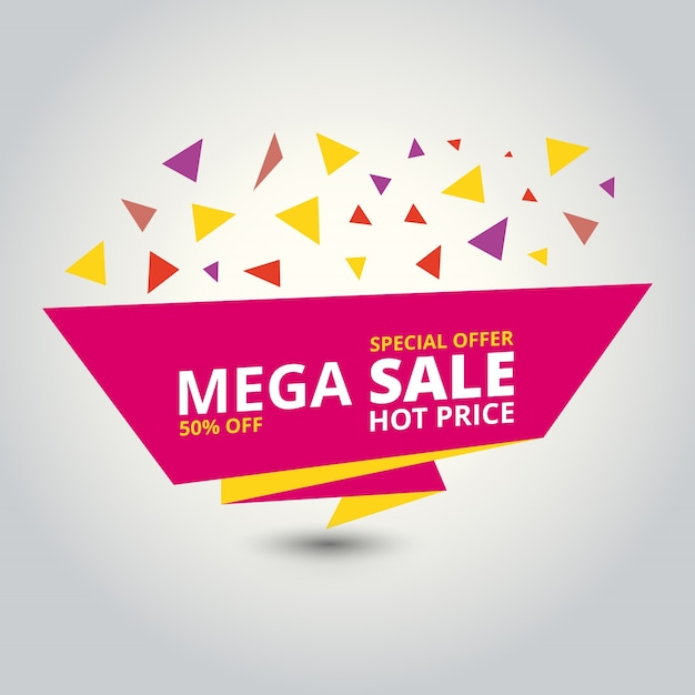 sale banner design template with triangles vector free download
