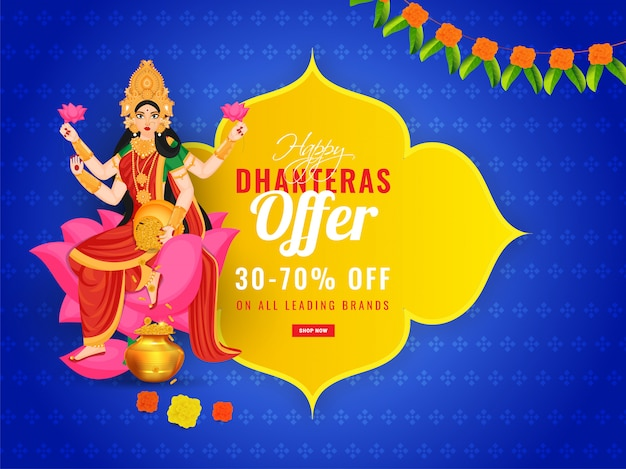 Sale banner design with 30-70% discount offer and illustration of goddess lakshmi maa. happy dhanteras celebration concept. Premium Vector