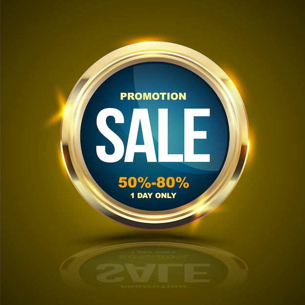 Sale banner gold circle for promotion advertising. Premium Vector