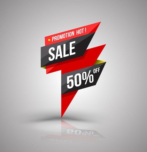 Sale banner lightning style Premium Vector