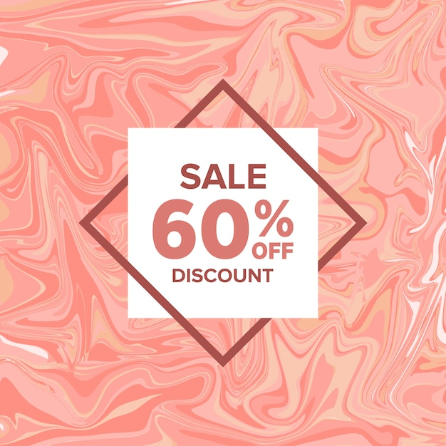Sale banner marble on background Premium Vector
