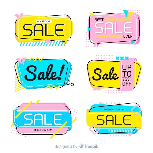 Sale banner memphis style set Free Vector
