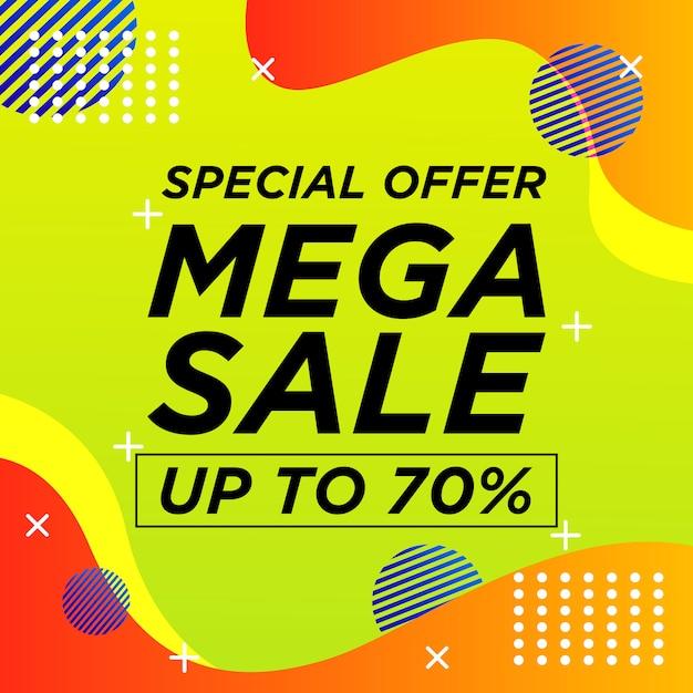 Sale banner memphis style with liquid background Premium Vector