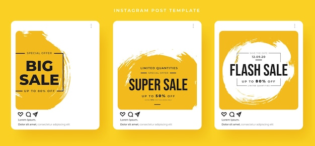 Sale banner set with card post style Premium Vector