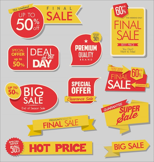 Sale banner and special offer tags collection Premium Vector