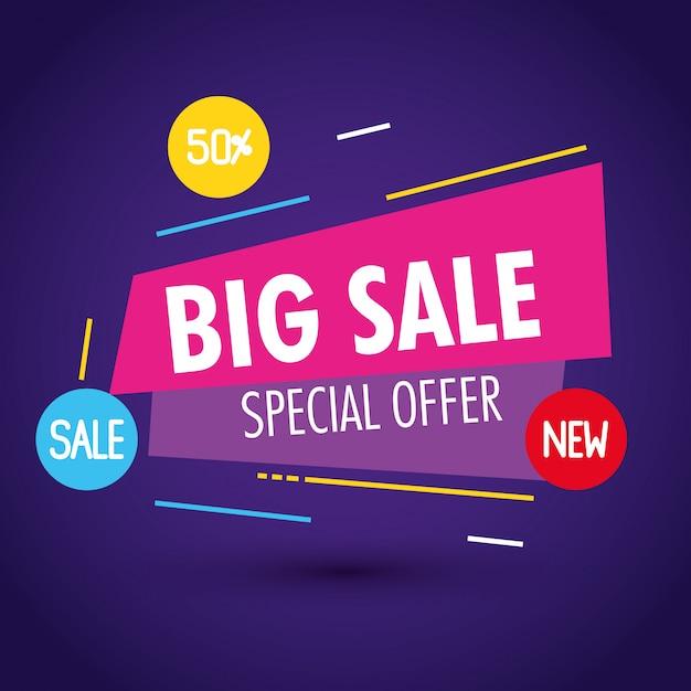 販売バナーテンプレート、大きな販売特別オファー、50%割引、販売バナーテンプレートコンセプト Premiumベクター