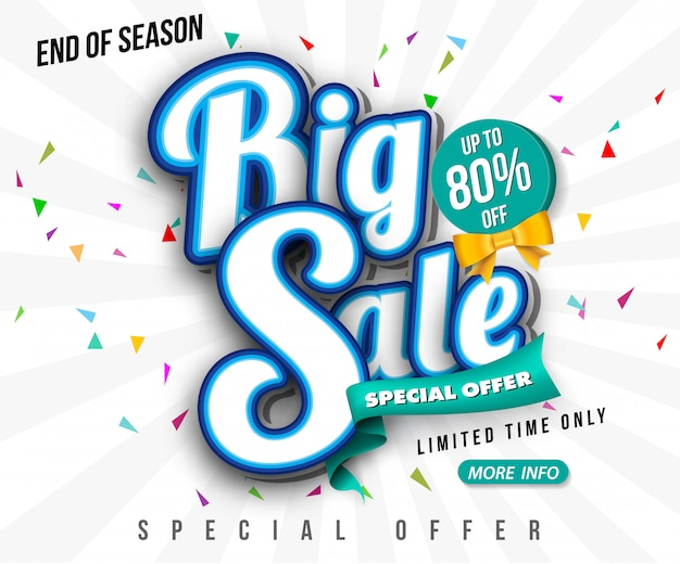 Sale banner template design, big sale special up to 80% off. super sale, end of season special offer banner. Premium Vector