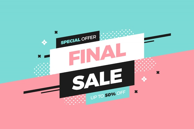 Sale banner template design in memphis style Free Vector