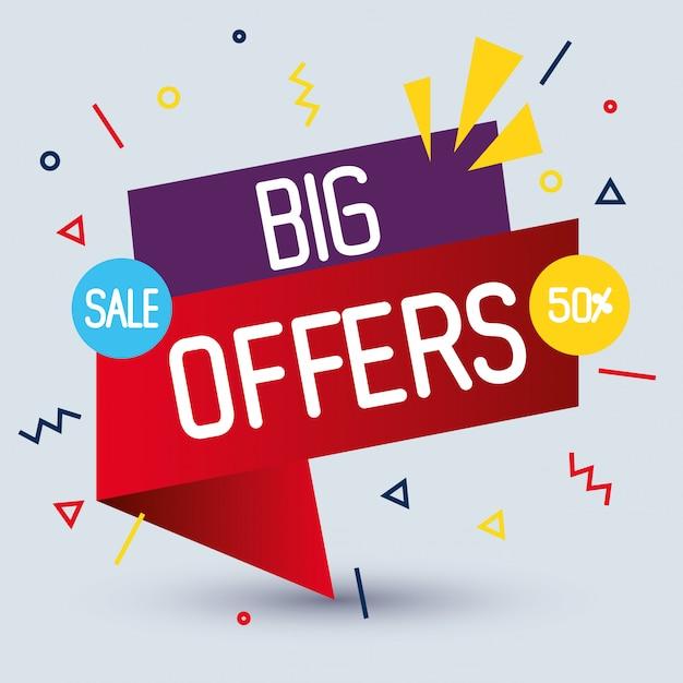 販売バナーテンプレート、大きなセール、50%割引プロモーション、販売バナーテンプレートコンセプト Premiumベクター