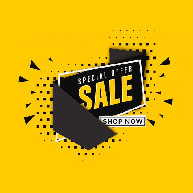 Sale banner template on yellow background Premium Vector