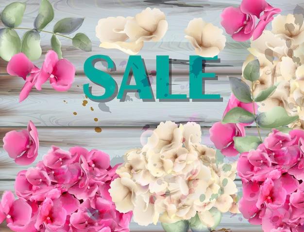 Sale banner with hydrangeas watercolor Premium Vector