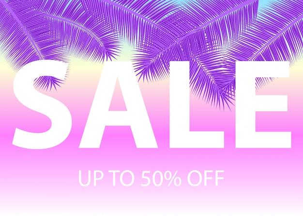 Продажа баннеров с пальмовыми листьями. цветочный тропический ультрафиолетовый фон. иллюстрация. жаркие летние распродажи. эпс 10. Premium векторы