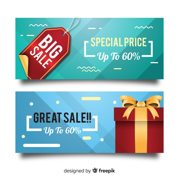 Sale banner with realistic objects Free Vector
