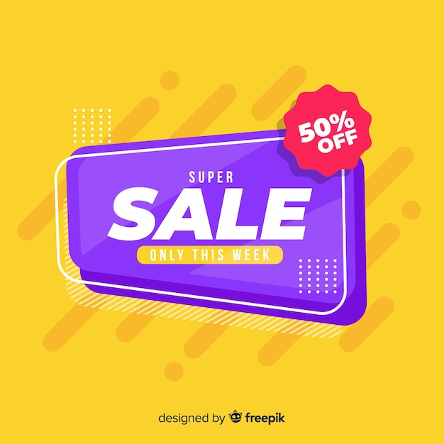 Sale banner with special discount design Free Vector