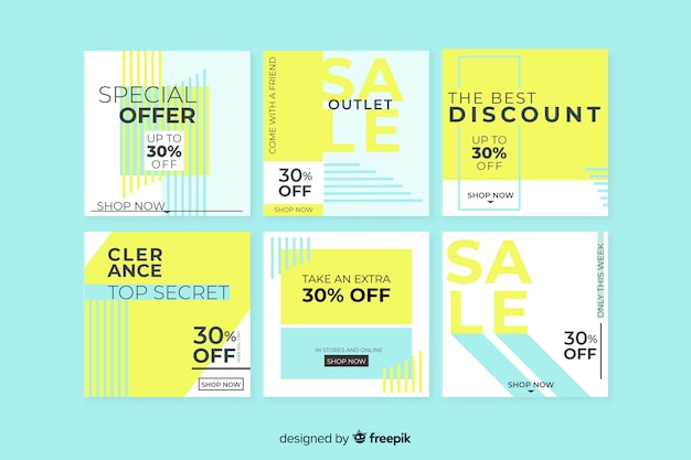 Sale banners collection for social media Free Vector