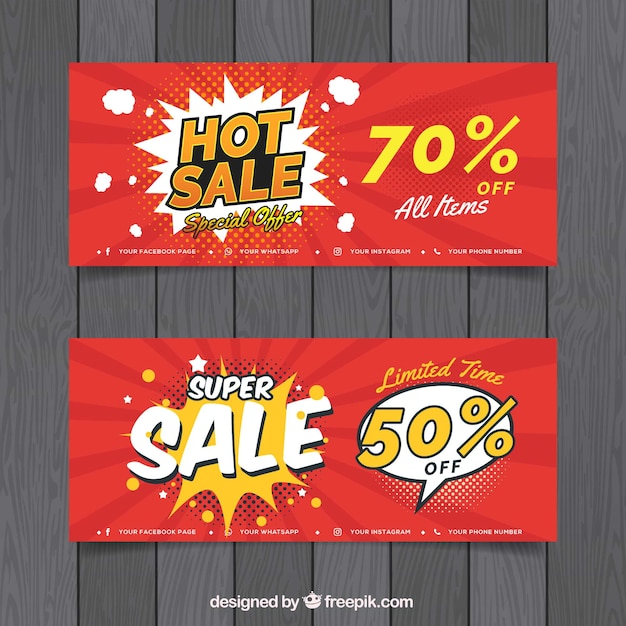 Sale banners in comic style Free Vector