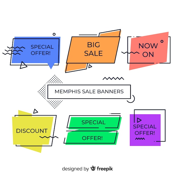 Sale banners in memphis style Free Vector