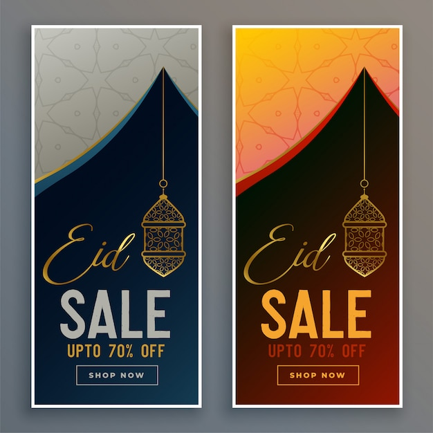 Sale banners set for eid festival Free Vector
