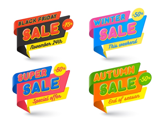 Sale banners template, hot, price tag, speech bubble Premium Vector