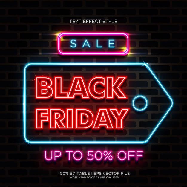 Sale Black Friday Neon Text Effects 프리미엄 벡터