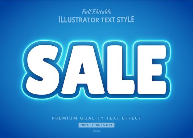 Sale blue neon text style effect Premium Vector