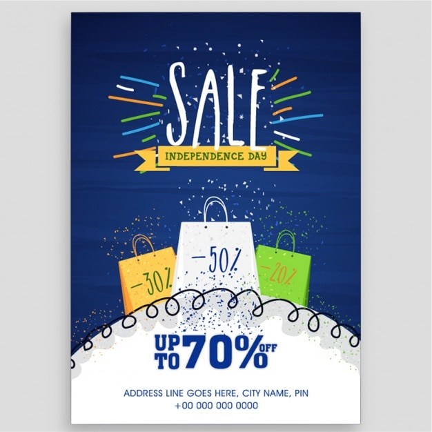 Sale brochure template for independence day Premium Vector