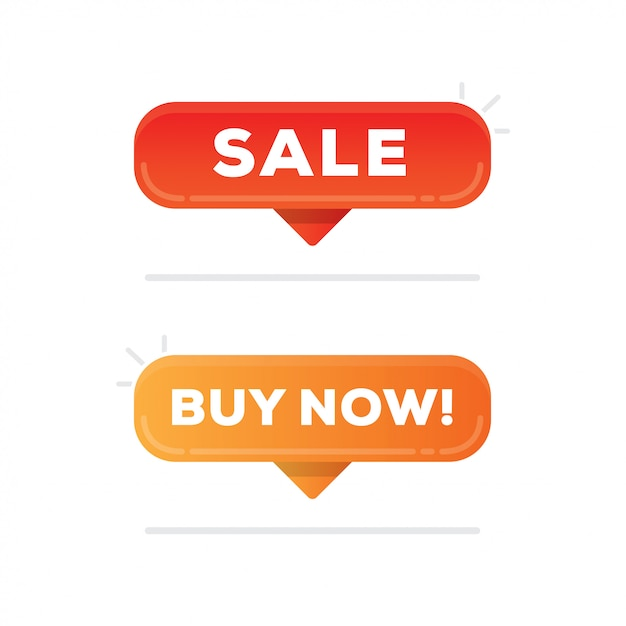 Sale and buy now buttons Premium Vector