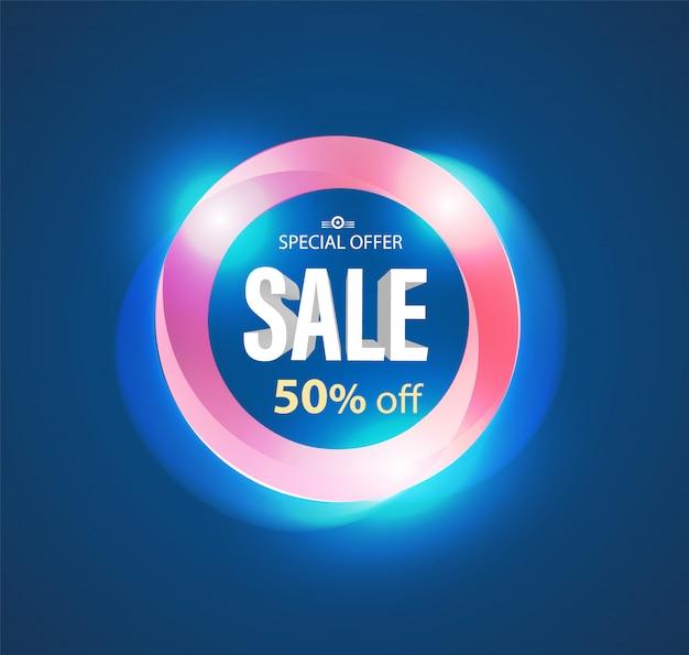 Sale circle  banner modern light style. Premium Vector
