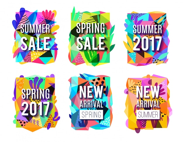 Sale colorful abstract background  banners set Free Vector