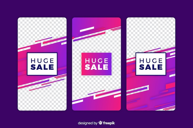 Sale colorful abstract instagram stories Free Vector
