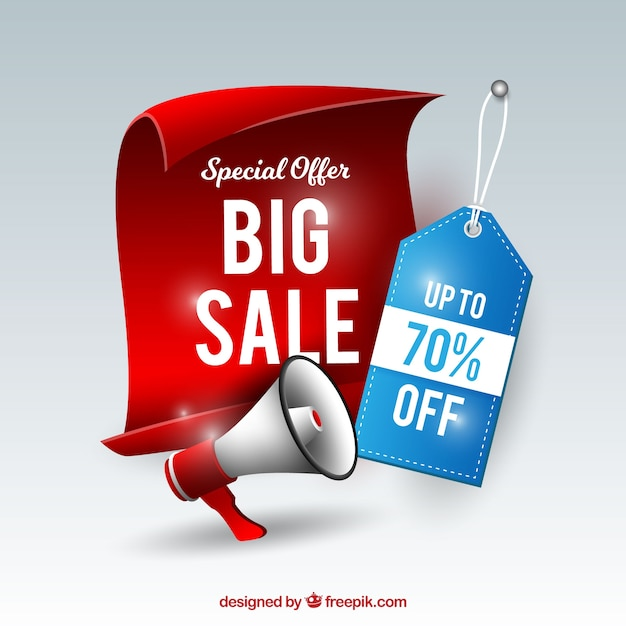 Sale composition with realistic label and megaphone Free Vector