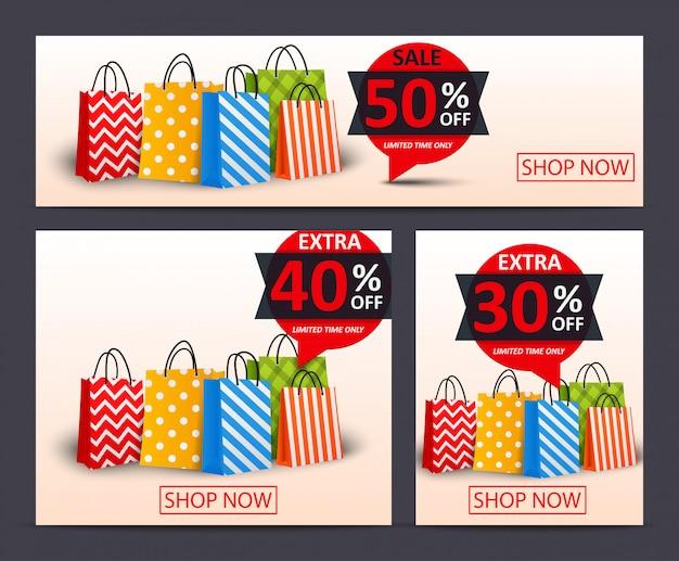 Sale discount banner template Premium Vector