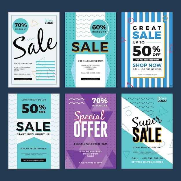 Sale and discount flyer set Premium Vector