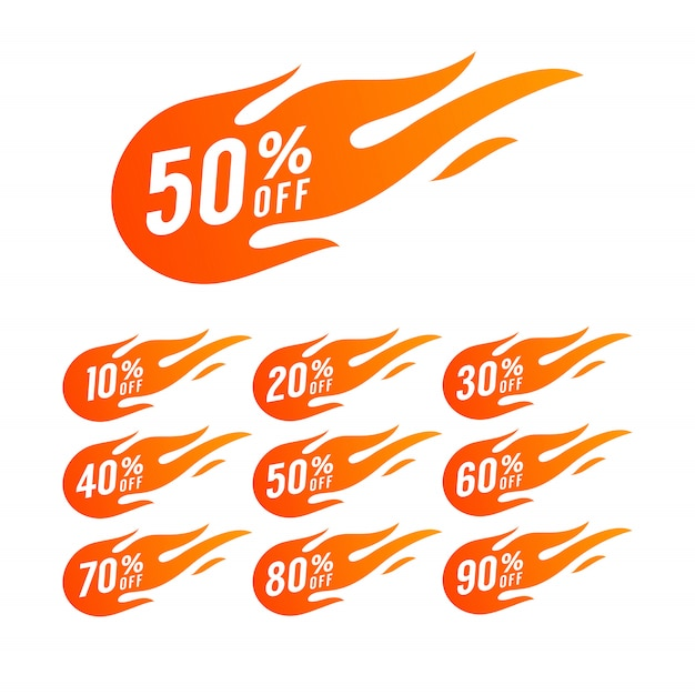 Sale discount hot fire sign. Premium Vector