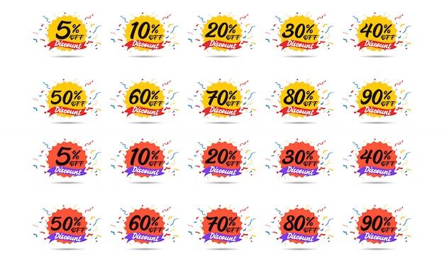 販売割引アイコン。特別オファー価格の標識。 5、10、20、30、40、50、60、70、80、および90%の削減シンボル。 Premiumベクター