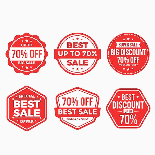 セール割引ラベルレッドバナータグコレクション Premiumベクター