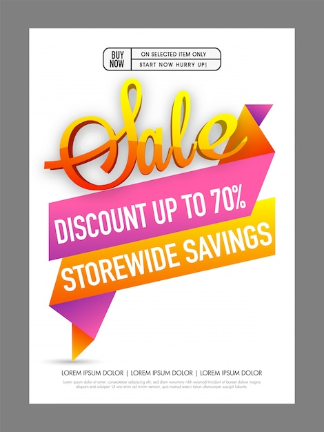 Sale and discount poster, banner or flyer with paper tag