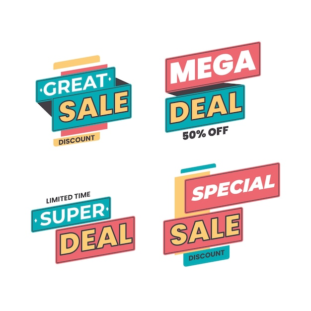 Sale and discount promo banners collection Free Vector