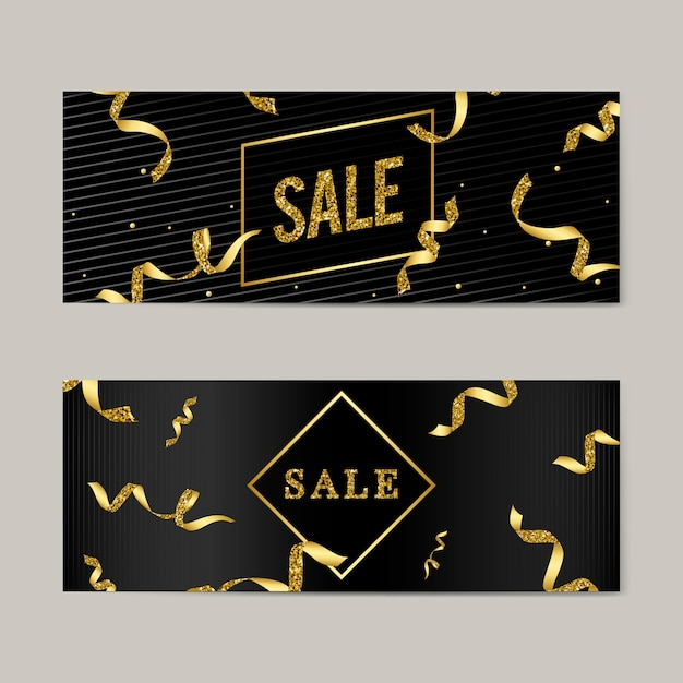 Sale emblem with ribbons vector Free Vector