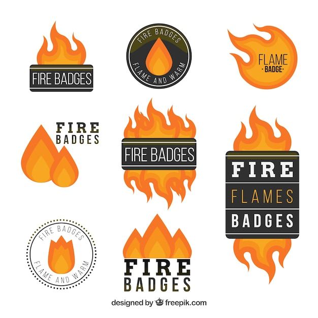 Sale fire label/badge collection Free Vector