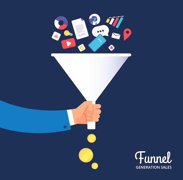 Sale funnel. lead management optimisation and generation. leading technology and media marketing. sale conversion vector concept Premium Vector