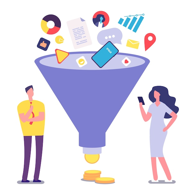 Sale funnel and people Premium Vector