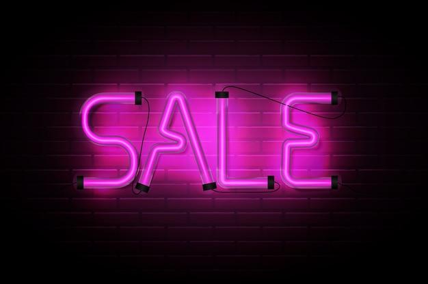 暗いレンガの壁の背景に輝くネオンピンクのチューブを販売 Premiumベクター