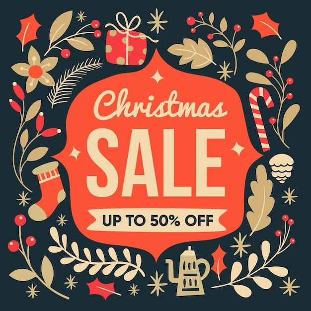 Sale half off christmas in flat design Free Vector